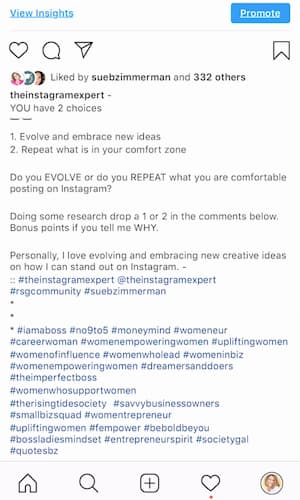 Sue B Zimmerman's Instagram caption is broken up with dashes, white spaces and symbols.