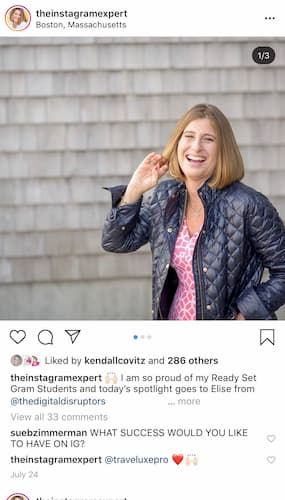 Sue B Zimmerman's Instagram carousel post with the number of images in the top right corner.