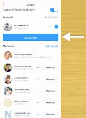 A list of followers included in the Instagram Stories chat.