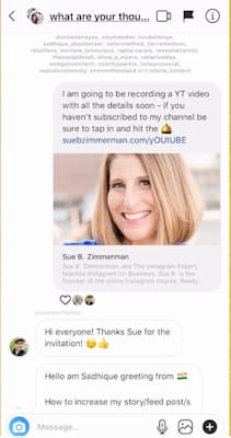 An Instagram Stories chat that includes Sue B Zimmerman's link to her weekly YouTube video.