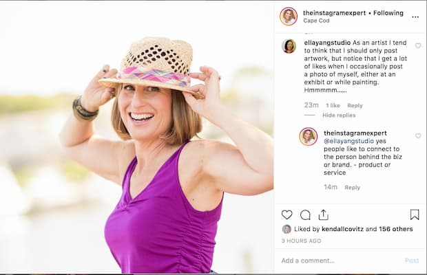 Sue B Zimmerman's Instagram post includes lots of back and forth comments.