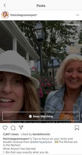 Sue B Zimmerman shares an IGTV preview in her Instagram feed.