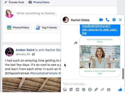 Sue B Zimmerman's shares an Instagram link preview in her Facebook messenger.