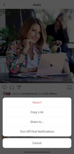 Sue B Zimmerman's Instagram post menu options popped up after she tapped on the three dots in the bottom right corner.