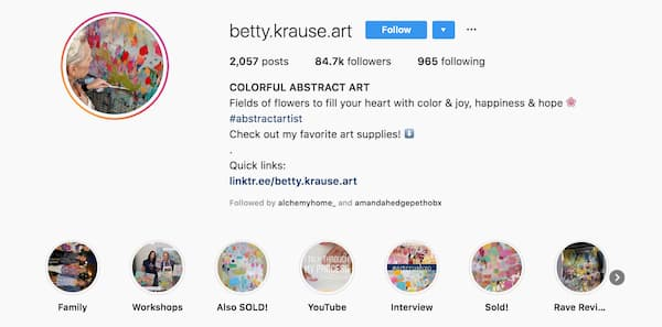 Betty Krause's Instagram Story Highlights capture all the aspects of her business.
