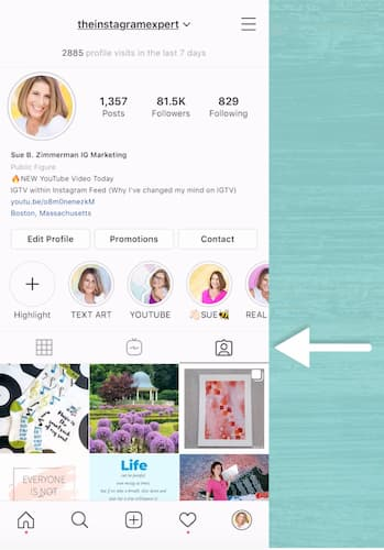 Sue B Zimmerman's Instagram account with a white arrow pointing to the tagged content Instagram feed.