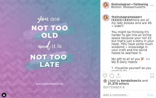 "Sue B Zimmerman shares a blue and purple graphic that says ""You are not too old and it's not too late."""