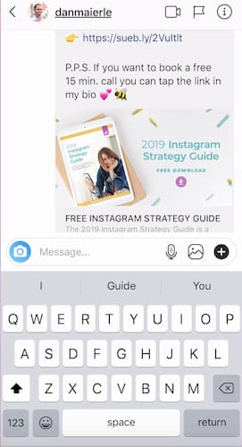 Sue B Zimmerman's Instagram Direct Message sharing her Instagram Strategy Guide.