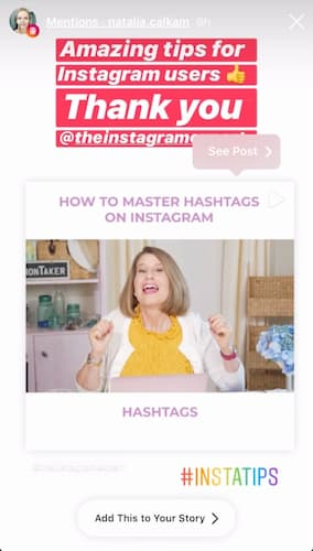 Sue B Zimmerman's Instagram Story with orange and pink text block overlays.