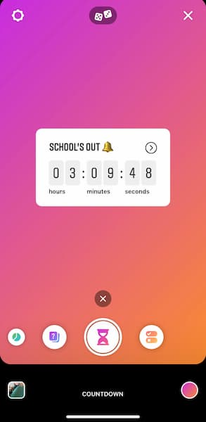 "An Instagram Story Create countdown sticker that says ""school's out"" with a bell emoji."