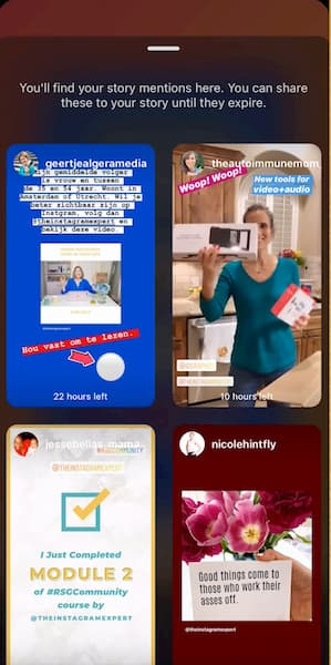 Instagram Story Create mode that shows all of the accounts that have tagged Sue B Zimmerman.