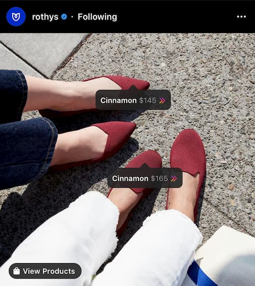 Rothy's Instagram post with cinnamon-colored flats and a shoppable post sticker.