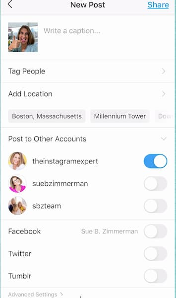 Sue B Zimmerman's Instagram post settings with the blue toggle turned on for her Instagram Expert profile.