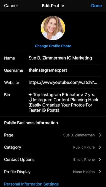 Sue B. Zimmerman's Instagram profile with the edit menu open.