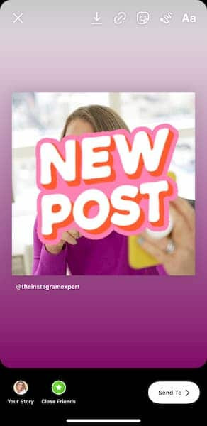 An Instagram post from Sue B Zimmerman that has a 'new post' sticker over the image.