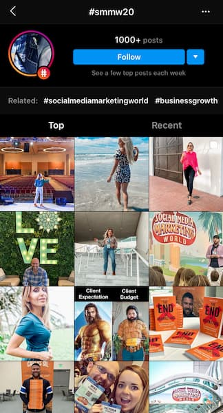The hashtag hub for Social Media Marketing World showing all of the accounts that have tagged them in their feed content.