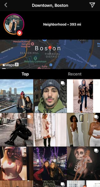 The geolocation sticker for all of the content tagged with Downtown Boston.