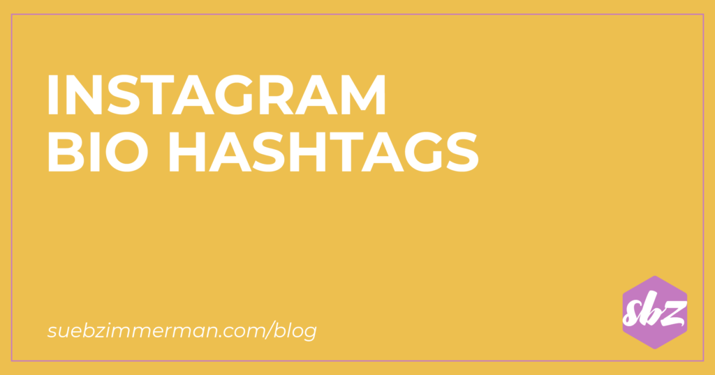 Blog header with a yellow background and text that says Instagram bio hashtags.