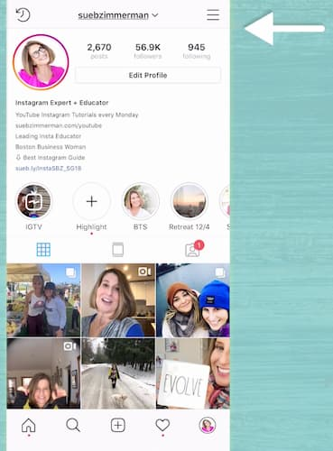 A white arrow points to a screenshot of Sue B Zimmerman's Instagram profile and the stacked bars in the top right corner.