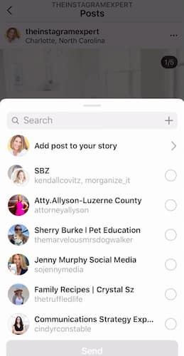 A screenshot of Sue B Zimmerman's Instagram menu that says add post to your story.