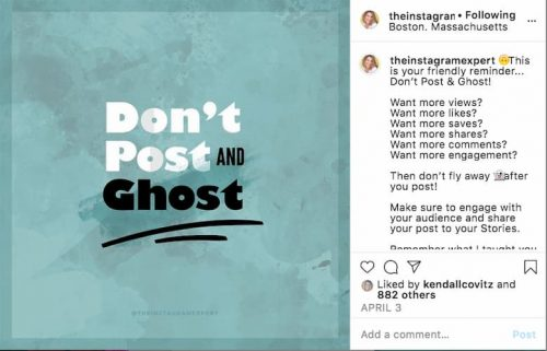 Sue B Zimmerman's teal Instagram post graphic that says don't post and ghost.