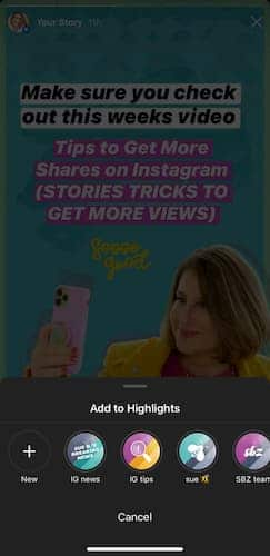 Sue B Zimmerman's Instagram Story clip with an open menu that says add to highlights.