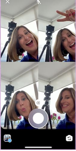 Sue B Zimmerman poses and smiles in a four-square Instagram Story layout.
