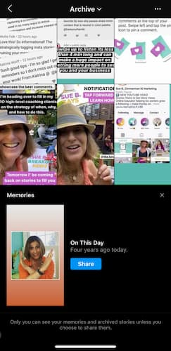 Sue B Zimmerman's Instagram Stories archive with the Memories feature at the bottom of the screen.