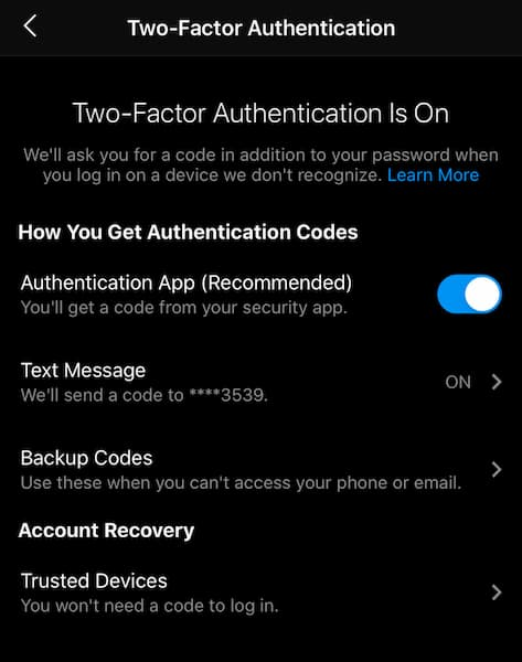 Sue B Zimmerman's Instagram security settings with 2-factor authentication toggled on.