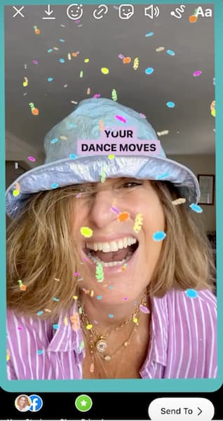 Sue B Zimmerman wears a bucket hat and smiles in her birthday IG reel.