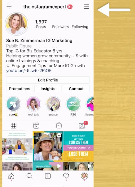 Sue B Zimmerman's Instagram profile with an arrow pointing to the stacked bars in the top right corner.