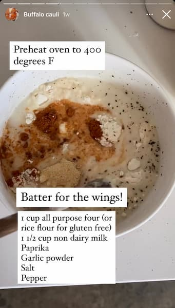 Alexa Fueled Naturally's Instagram Story shows cauliflower dipped in her vegan batter.