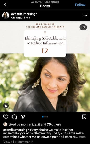 Avanti Kumarsingh shares an Instagram Story highlighting her new self improvement course.