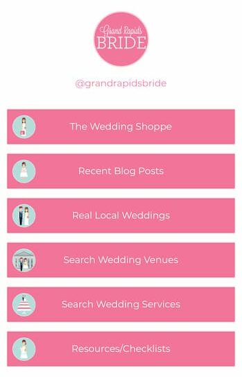Grand Rapids Bride's Linktree landing page with four pink bars that include links and a graphic of their logo at the top.