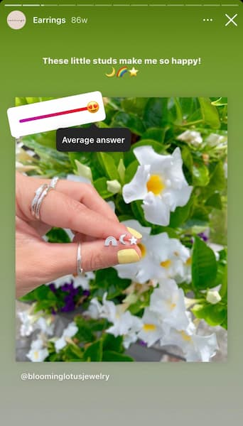 Jenn shares an Instagram Story of her new ring collection over a bed of flowers with an Instagram™ sliding poll.