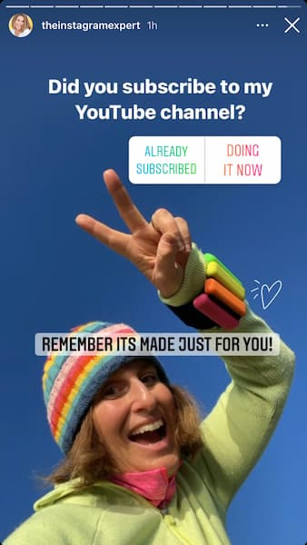 Sue B Zimmerman's Instagram Story poll asking her followers if they subscribe to her YouTube channel.