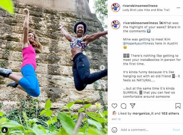Riva shares an Instagram™ post that shows her happily jumping the air with her friend, Kim.