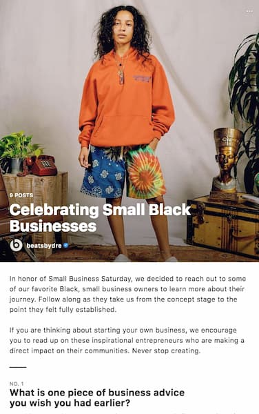 An Instagram™ Guide from Beats by Dew that highlights small Black-owned businesses.