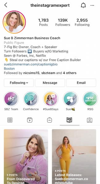 Sue B Zimmerman's Instagram™ profile with the Instagram™ Guides tab open.