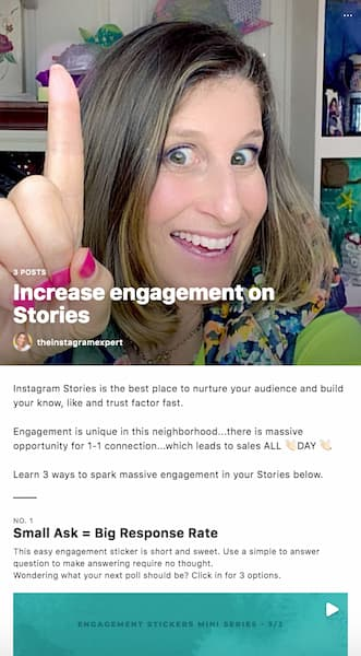 Sue B Zimmerman's Instagram™ Guide promoting her content on increasing Instagram™ engagement.