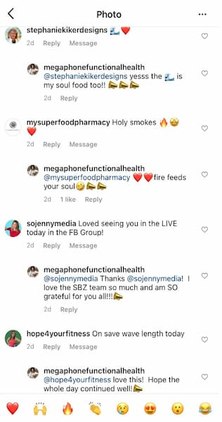 Renee leaves a megaphone in her Instagram™ comment thread.