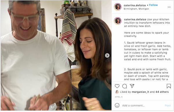 Caterina's Instagram carousel posts walks her followers how to make leftovers last throughout the week.