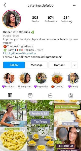 Caterina's Instagram™ profile is focused on the interests of her ideal followers.