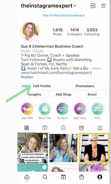 Sue B. Zimmerman's Instagram profile with a green arrow pointing to the edit profile button.
